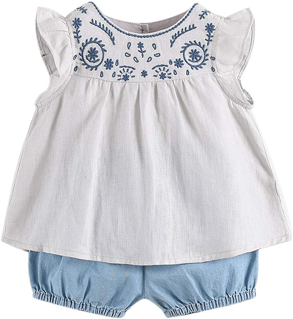 Luxury marc janie Girls' Embroidered Linen T-Shirts and Sets Courier shipping free - Short Fr