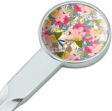 Softly Flowers Floral Pattern Classic Chrome Plated Metal Envelope Letter Opener Slitter