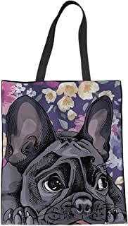 FUIBENG Animal Design Fashion Canvas Tote Bags for Women Girls Ladies Linen Handbag