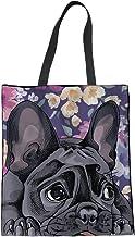 Bolso de mano de lona para mujer Coloranimal, diseño de perro, Bulldog francés Cutie (Multicolor) - K-H8579Z22