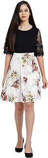 Zink London White Polyester Elastene Floral Print Flare Skirt for Women