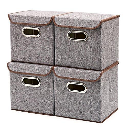 4er Set Aufbewahrungsboxen Mit Deckel, EZOWare faltbar Stoff Aufbewahrungsbox, Cube Aufbewahrungskorb Ordnungsystem Sauraum Boxen Körbe Kisten (Grau) - 25x25 cm