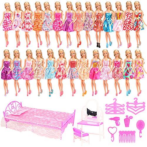 Miunana 33 Artikel = 20 Kleidung + 1 Bett + 1 Schminktisch + 1 Stuhl + 5 Kleiderbügel + 5 Accessoires für Puppen