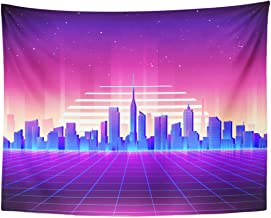 Emvency Tapestry 80S Retro Sci Fi Night City Skyline Futuristic Synth Home Decor Wall Hanging for Living Room Bedroom Dorm 60x80 Inches