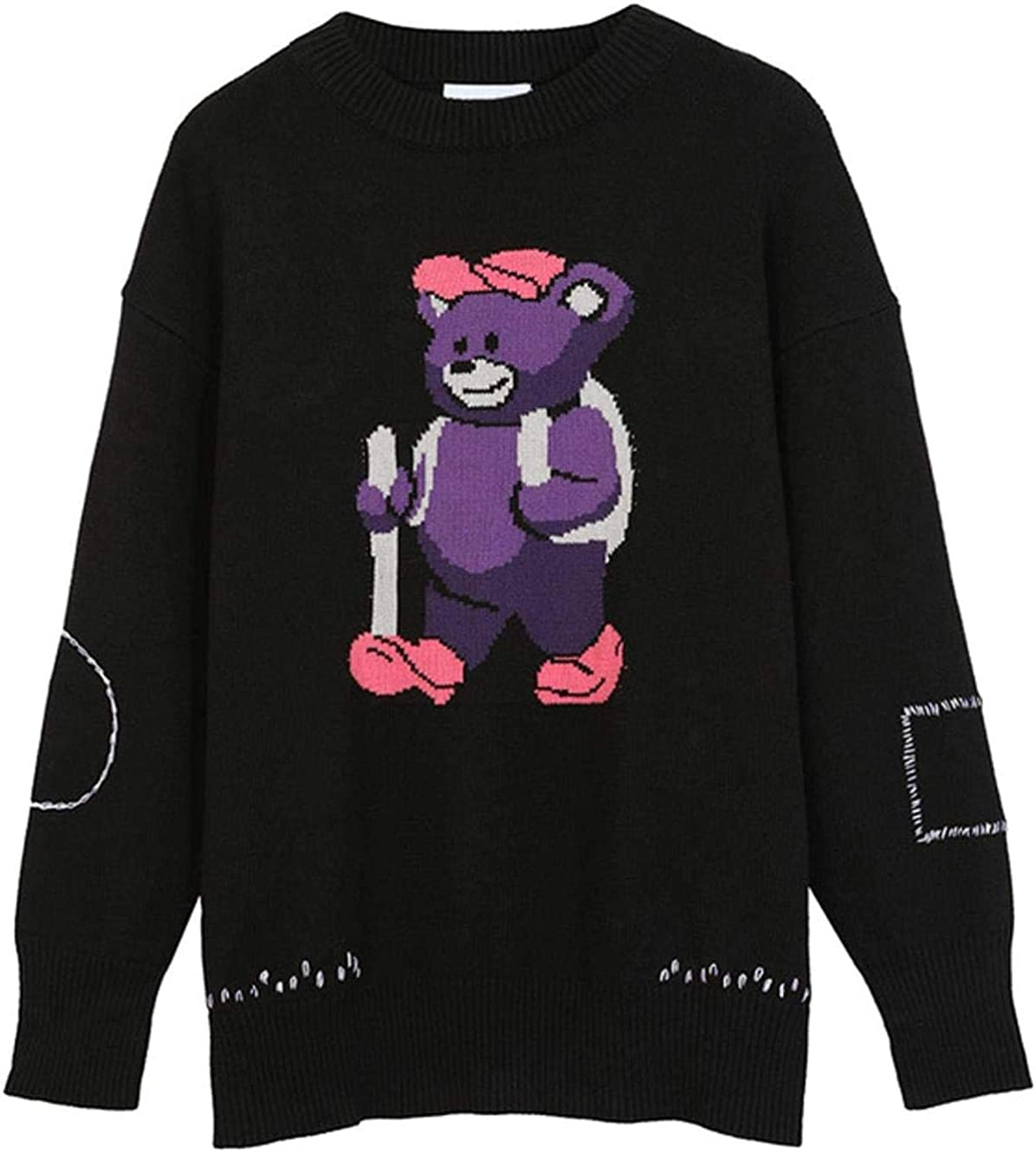 WSBD Sweater Men Cute Cartoon Bear Letter Knitted Pullover Casual Baggy High Street Fashion Streetwear Couple