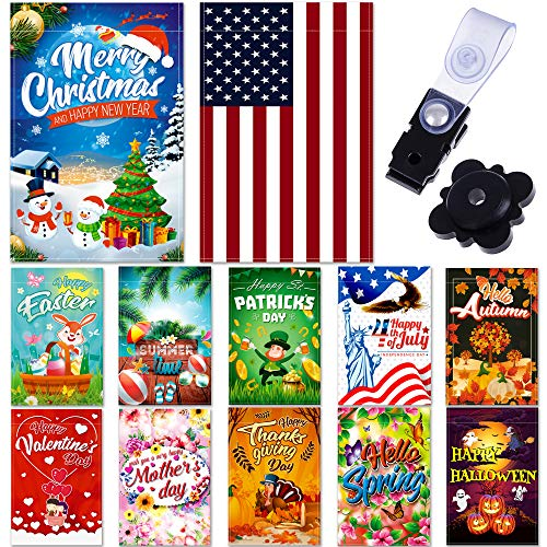 """Seasonal Garden Flag Set of 12 Pack - 12 """"x 18"""" for Double-sided Outdoors Lawn Decor - Polyester Premium Assortment Holiday Yard Flags Set and Festive small Garden Flag to Bright Up Your 12 Months"""