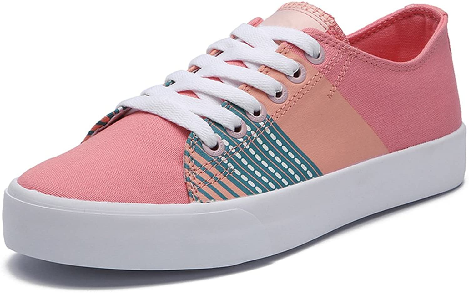 LIUXUEPING Summer Girl Casual shoes Low Help Sneakers Fresh Canvas shoes Comfortable Flat shoes (color   Pink, Size   35)