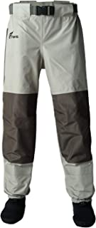 8 Fans Men's Women Fishing Waist Waders - 3-Ply Durable Breathable and Waterproof with Neoprene Stocking Foot Insulated Waist Waders for Duck Hunting, Fly Fishing, A Mesh Storage Bag Included