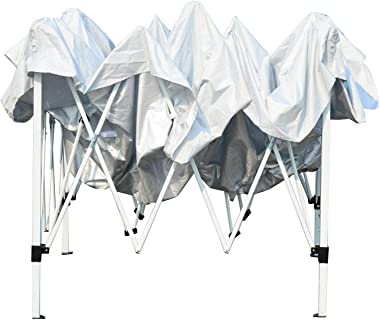 10x10 Party Wedding Tent Patio Gazebo Canopy Outdoor Mesh Silver -Canopies-Canopy -Pop up Canopy-Beach Canopy-Canopies, gazeb