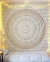 X-morrey 壁飾り インド曼荼羅タペストリーピクニックテーブルカバーとカーテン、休日飾りハイビジョンプリントボヘミア壁画寝室タペストリー壁掛け個性ギフト多機能ホーム装飾 ビーチタオル (ホワイト金WG02)