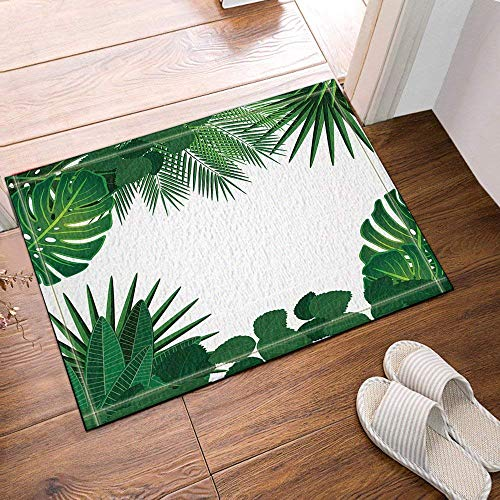 HYTCV White Background, Many Green Palm Leaves and Green Cannabis Leaves Bathroom mat outdoor indoor non-slip mat