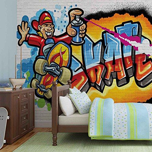 Graffiti Skate - Forwall - Fototapete - Tapete - Fotomural - Mural Wandbild - (3052WM) - XL - 208cm x 146cm - VLIES (EasyInstall) - 2 Pieces
