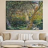wZUN Impresión HD Lienzo Arte de la Pared jardín de Claude Monet en Paisaje impresionista Pintura al óleo Imagen del Cartel 60x80 Sin Marco