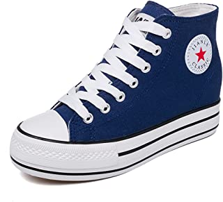 lcky Fashion Canvas Shoes Women's Inner high-Rise Shoes Platform Sports Shoes