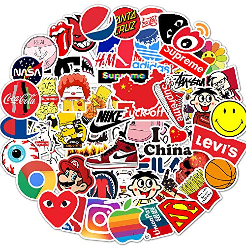 Stickers Pack Cool, 100 Pcs Vinyl Waterproof Tide Brand Stickers, for Laptop, Luggage, Car, Skateboard, Motorcycle, Bicycle Decal Graffiti Patches