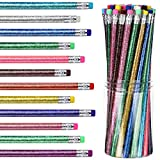 12 Colors Metallic Glitter Wood Pencil Colorful Wood Bright Round Pencils Writing Drawing Pencils with Top Eraser for Kids Students Presents Class School Stationery Supplies (48 Pieces)