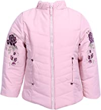 Cutecumber Girls Quilted Polyester Embroidered Pink Winter Jacket.4464J-PINK