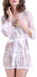 Women's Sexy Sheer Lingerie Lace Kimono Short Night Robe with G-String Panty