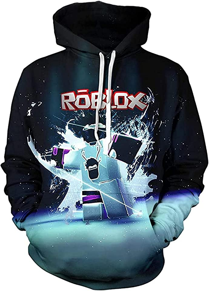 Boys Hoodies Girls Boys Outfits Cartoon Characters Pullover Cotton Sweatshirt, Roblox Game Kids Printed Sweatshirt Casual Kids Hooded Tops Long Sleeve