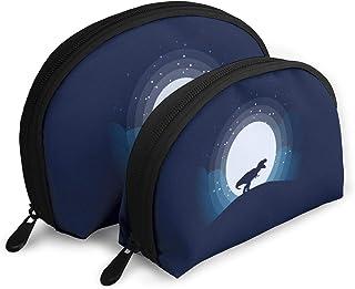月恐竜 2点セットシェルポーチコスメ柄バッグ化粧ポーチがま口ペンケース小物入れ収納バッグ大容量小銭入れ 旅行かばん 化粧品バッグ