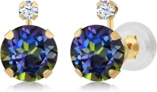 14K Yellow Gold Blue Mystic Topaz and White Created Sapphire Earrings For Women 1.68 Ct Round