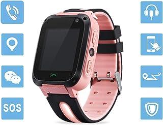 Relojes Inteligentes niños, GPS Triple posicionamiento Reloj de Pulsera Inteligente para 3-12 años Edad niños niñas Dos vías Llamada SOS Ayuda Teléfono Inteligente para niños Vacaciones Regalo,Pink