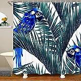 Tropische Palmblätter Mit Haken Blaue Papageien Wasserdichtes Duschvorhang Textil Botanisch Tier Fabric Duschvorhang 180x200 Blumendschungelmuster