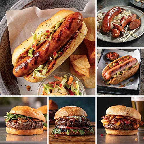 Burgers & Sausage Sampler from Omaha Steaks (Apple & Gouda Chicken Sausages, Delmonico Burgers, Omaha Steaks Burgers, Brisket Burgers, Gourmet Jumbo Franks, and Kielbasa Sausages)