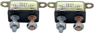 ZOOKOTO 2pcs 12V 50A Auto Circuit Breaker Automatic Reset Fuse Stud Bolt 50Amp
