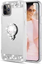 Caka Glitter Case for iPhone 11 Pro Max Mirror Case with Ring Holder Kickstand for Girls Women Bling Shining Rhinestone Diamond Luxury Makeup Case for iPhone 11 Pro Max (6.5 inch)(Silver)