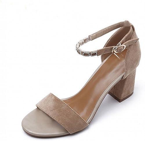 VSR épais avec une Sandale Femme Chaussures à Talons Talons Hauts 2018 Sandales en Daim à Boucle de Mode Chaussures Romaines