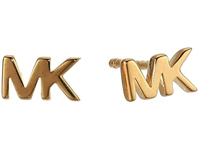 Michael Kors MK Logo Stud Earrings (14K Gold Plating) Earring
