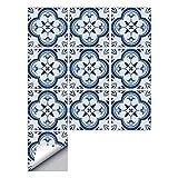 decalmile 10 Piezas Pegatinas de Azulejos 15x15cm Azul y Blanco Marroquí Adhesivo Decorativo para Azulejos Cocina Baño Decoración