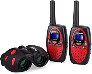 Retevis RT628 Kids Walkie Talkies 8 CH FRS (2 Pack) and Kids Binocular for Outdoor Play Toy Walkie Talkies for Boys and Girls(1 Pack) (Black and Red)