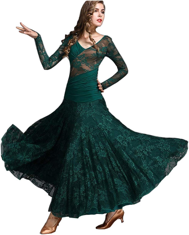 CHAGME Lace Dress Latin Skirt Tango Dress Ballroom Dress Waltz Dress