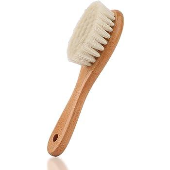 Brosse cheveux bebe Poils de ch/èvre doux Premium Brosse /à b/éb/é Brush Set Poils de ch/èvre naturels Peigne en bois Cheveux Nouveau-n/és Soins quotidiens