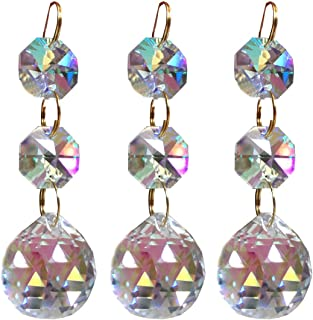 Little Chair 10Pcs Rainbow Colorful Crystal Chandelier Pendants Parts Beads,Hanging Crystal Beads Chain Garland,Door Curtain,Candlestick,Party Wedding Chirstmas Decoration(20mm)