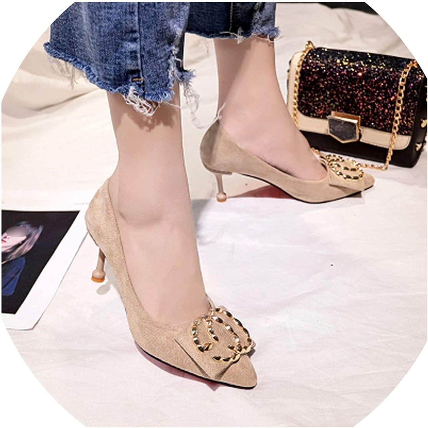 Mostand heeled-sandals High Heels Autumn Korean Version of The Wild Fine with Large Sizes Suede Single 34-43