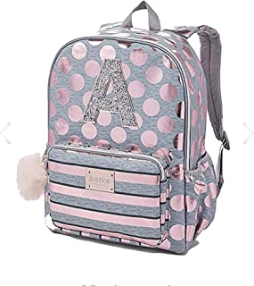 Justice Girls Rose Gold Foil Initial Backpack Gold (A)