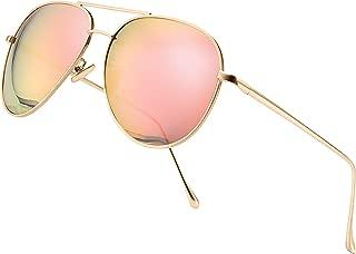 SUNGAIT Women's Lightweight Oversized Aviator Sunglasses - Mirrored Polarized Lens
