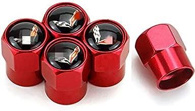 American shop g 5 Pcs Car Wheel Tires Valve Stem Caps for Corvette C7 Decorative Accessory Red Logo Chrome Tire Stem Valve Caps