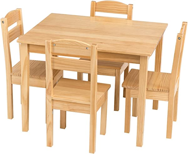 Costzon Kids Wooden Table And 4 Chair Set 5 Pieces Set Includes 4 Chairs And 1 Activity Table Toddler Table For 2 6 Years Playroom Furniture Picnic Table W Chairs Dining Table Set Natural