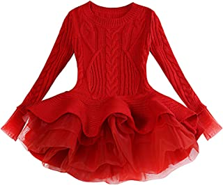 Little Girl Christmas Sweater Tutu Dress for Kids Princess Cute Knitted Long Winter Pullovers Outerwear Coat Jumpers Tops