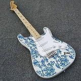 MLKJSYBA Guitarra Guitarra Eléctrica De Porcelana Azul Y Blanca con Cinco Estrellas Puntiagudas En Hojas De Arce Guitarras acústicas (Color : Guitar, Size : 41 Inches)