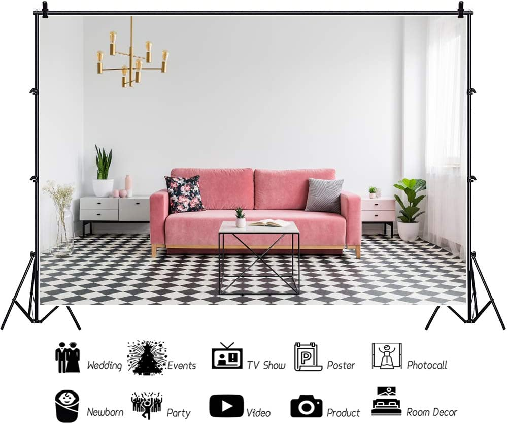 CSFOTO 12x8ft Living Room Backdrop Pink Sofa White Curtain Girl Bedroom Background for Photography Interior House Photo Banner Blogger Video Wallpaper