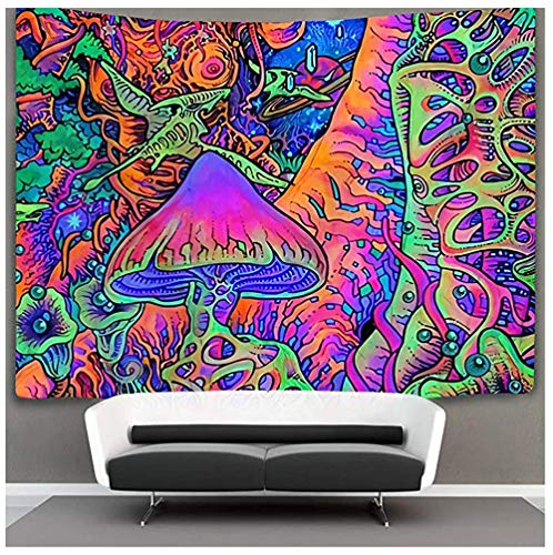 wrhua Pilz Tapisserie Psychedelic Tapisserie Tapisserie Hippie Art Tapisserie Pop Smoky Schwarzlicht Raumdekoration Übergroße Tapisserie Decke Für Wohnzimmer Schlafzimmer Dekoration 200X150Cm
