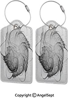 Personal Expression Luggage Tag Business Card Holder,Original Futuristic Chaotic Graphic Image with Bizarre Forms and Features 2 PCS Grey White,With Lifetime Never Lost Guarantee
