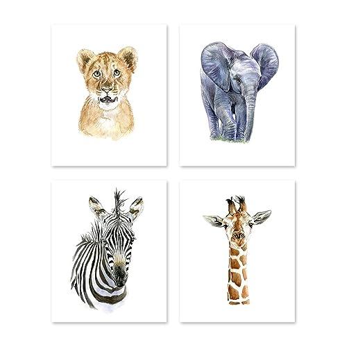 A2 Safari Theme Nursery Wall Art - Set of 4 - Watercolor African Baby Animals Paintings - Wildlife Zoo Jungle Posters Prints - Zebra Lion Giraffe Elephant - Kids Children Pictures Portrait (8x10)