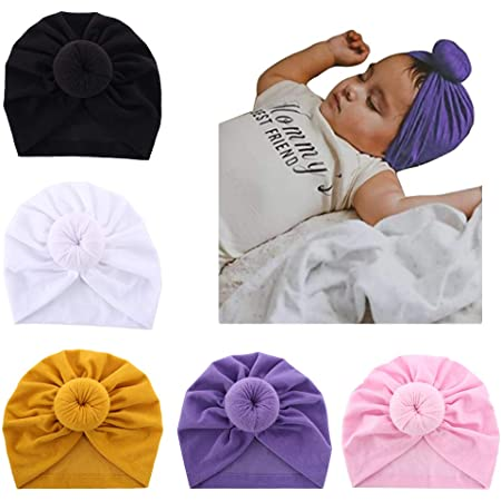 Soft and Comfortable Cap for Baby Aged 0-4 Sequined Bowknot Knitted Cotton Cap Adjustable Elastic Newborn Toddler Turban ZUHANGMENG Baby Hat