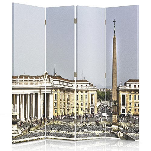 Feeby Frames Biombo impreso sobre lona, tabique decorativo para habitaciones, a doble cara, de 4 piezas, 360° (145x150 cm), VATICANO, PLAZA DE SAN PEDRO, SA PEDRO, PAISAJE ANTIGUO, VINTAGE, MULTICOLOR